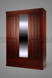 Шкаф Дания №4 3-створки с зеркалом и ящиками
