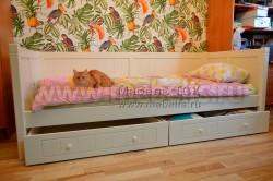 Кровать тахта Дания №3 90х190 с двумя ящиками из массива