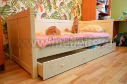 Кровать тахта Дания №3 80х190 с двумя ящиками из массива