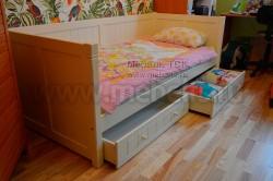 Кровать тахта Дания №3 80х200 с двумя ящиками из массива