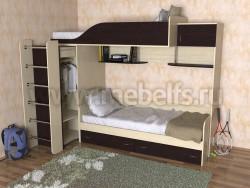 Двухъярусная кровать со шкафом Дуэт-3 (ДМВ).