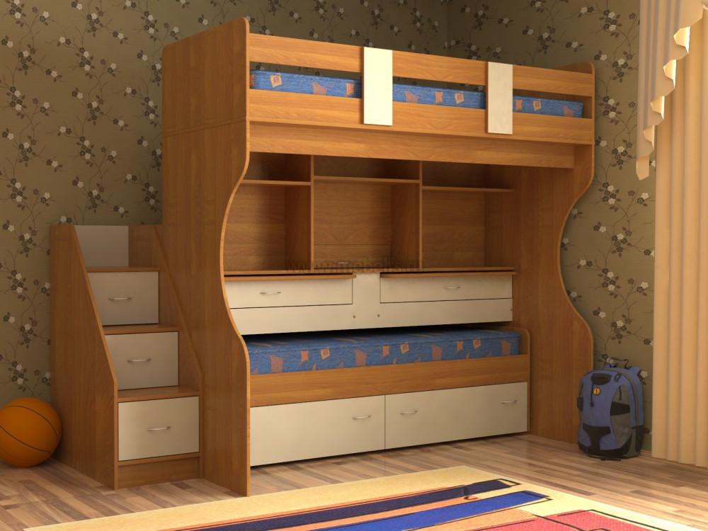 Кровать двухъярусная со столом фото