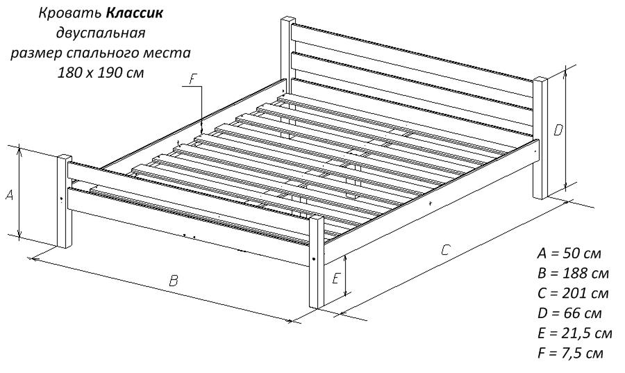 Чертеж двуспальной кровати