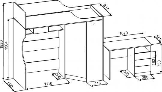 Схема кровати чердак Квартет-2